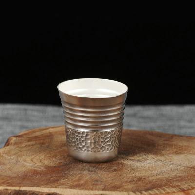冠爵-足银本色酒具-一帆风顺酒杯