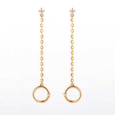 幸福圆舞曲AU75018k金玫瑰色钻石耳坠 个性时尚送女友 送老婆