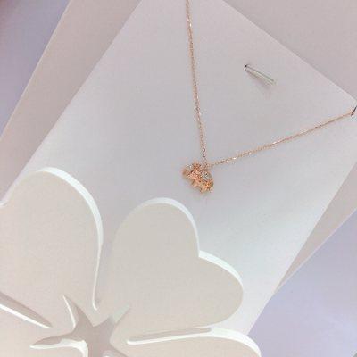 幸福小Q—玫瑰金钻石项链