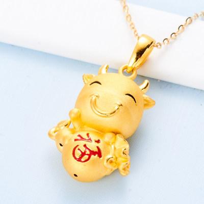 幸福生肖缘 3D硬金素金幸福牛吊坠(不含链)