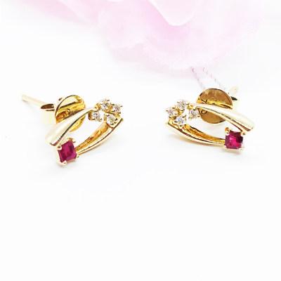 幸福匠意 商柜正品 AU750玫瑰金钻石耳钉 送老婆