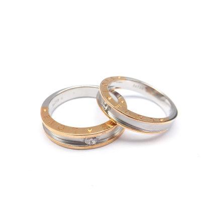 幸福承诺-18K金分色钻石情侣戒女款求婚订婚钻戒AU750钻戒定制