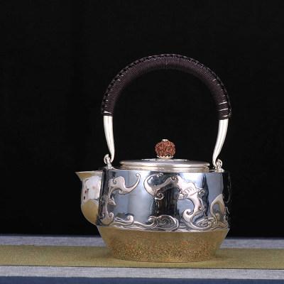 足银本色菩提茶具**-五福临门提梁壶