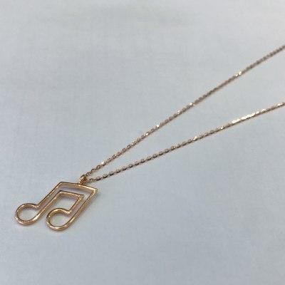 幸福赞歌18K金玫瑰色音乐符号钻石文艺项链