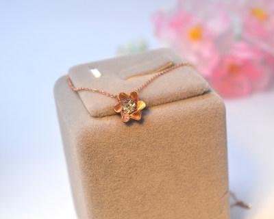 幸福茉莉花 Au750金 18k金 玫瑰金钻石套链 甜美花儿项链 清新简约 女友 闺蜜