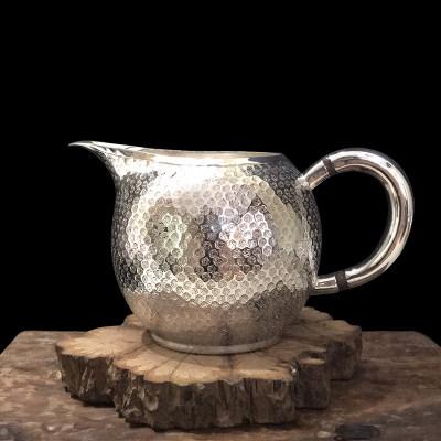 道之赋-足银本色茶具礼品-碎梅花纹公道杯把手分茶器 茶壶茶杯茶道家用银壶 送礼自用收藏功夫银茶具