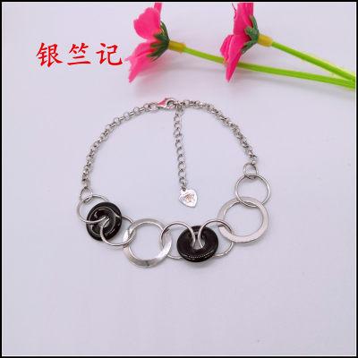 银竺记 S925银电白玛手链