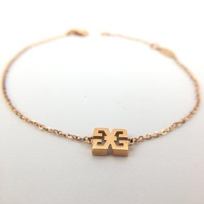 幸福之源-18K金玫瑰色素金手链时尚精致小清晰女款纤细百搭礼品
