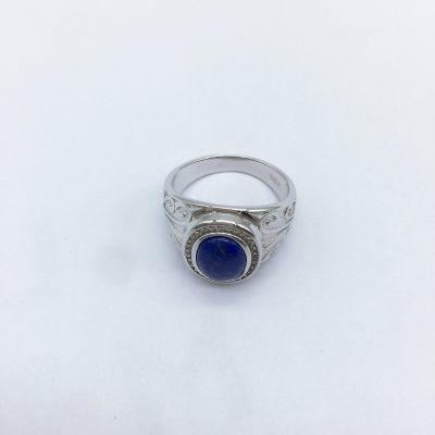 青御S925银电白青金戒指