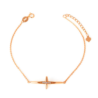 幸福梦想系列 AU750金玫瑰色钻石手链