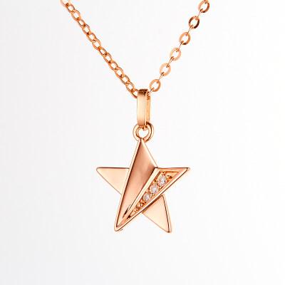 滴确幸福 五角星4D18K玫瑰金钻石套链