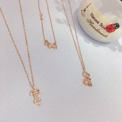 幸福小狗—玫瑰金钻石项链