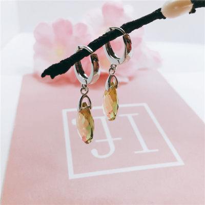 S925银天然黄晶耳扣