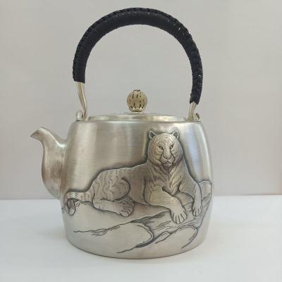 足银本色菩提茶具手工纯银提梁壶纯银烧壶纯银煮茶壶 老虎