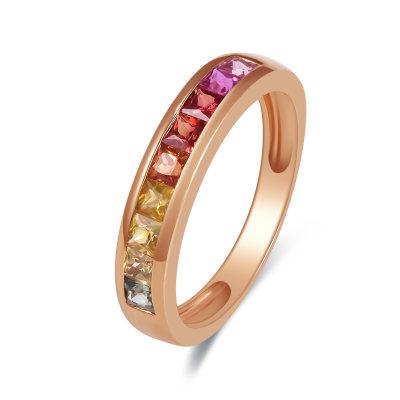 幸福彩虹18K金玫瑰色彩宝石戒指
