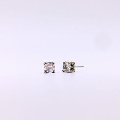 月光赋S925银仿古合成立方氧化锆耳钉