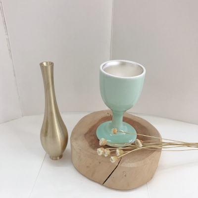 樽道-足银本色酒具-银瓷酒盏杯