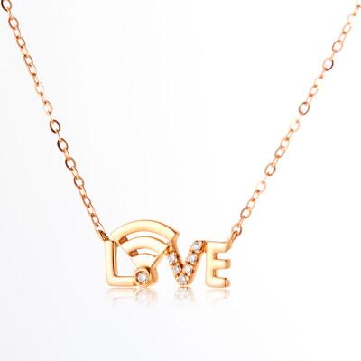 唤醒幸福-AU750金玫瑰色钻石镶嵌套链 love表白WiFi创意字母项链 18K金镶钻锁骨链