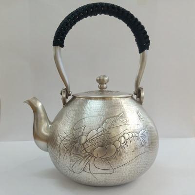 足银仿古茶具手工纯银提梁壶纯银水壶纯银茶具煮茶壶 虾