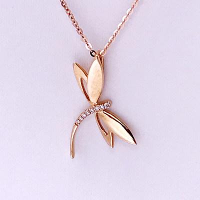 幸福珠宝专柜正品 幸福感悟微幸福幸福之歌AU750金玫瑰色钻石套链