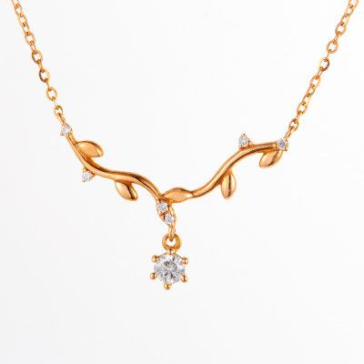 幸福森林18k金玫瑰色钻石套链