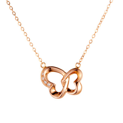 知心爱情 4D18K钻石玫瑰金套链