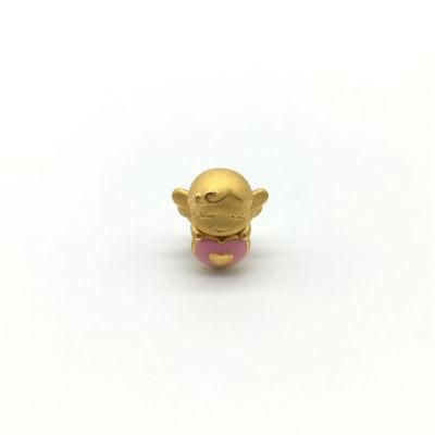 幸福天使足金999串珠3D硬金转运珠小天使路路通手绳串珠计价黄金