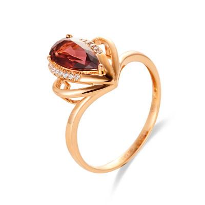 幸福嘉人系列Au750金 18K金玫瑰金天然碧玺戒指轻奢优雅心形水滴宝石指环送女友妈妈礼物