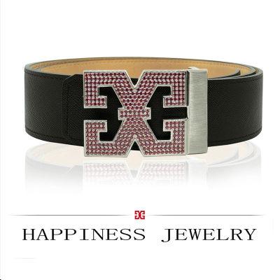 幸福之源-925银合成立方氧化锆皮带扣时尚休闲男士潮流闪耀酷炫镶嵌宝石礼品