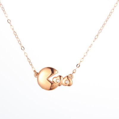 幸福活力 AU750金玫瑰色钻石套链 吃豆人