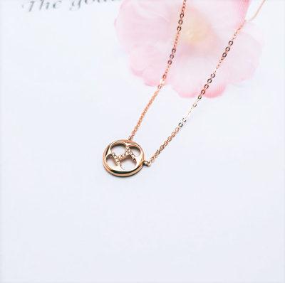 幸福魅力AU750金玫瑰色钻石套链