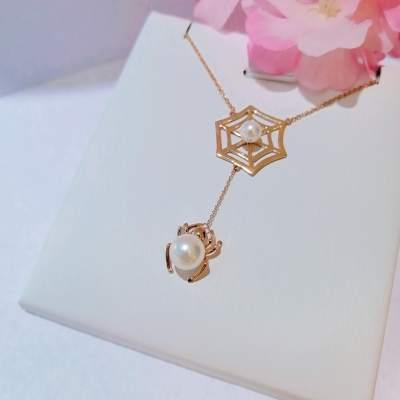 编织幸福时尚个性玫瑰金au750精美珍珠套链百搭时尚颈链