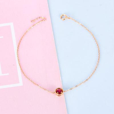 幸福悦己AU750金玫瑰色红碧玺手链 18K金几何珠宝圆形时尚手链 修饰手形