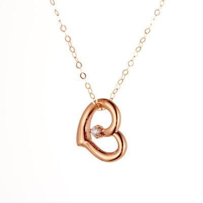 温柔心愿-4D18K玫瑰金钻石套链 创意爱心项链礼物