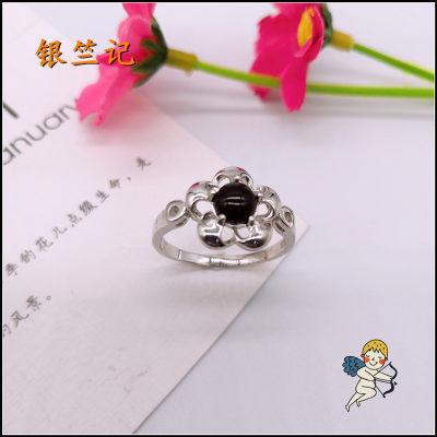 银竺记 S925银电白玛瑙戒指