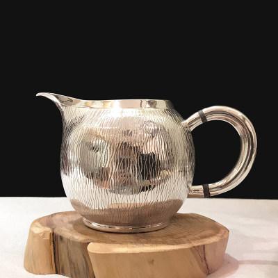 道之赋-足银本色茶具礼品-竖水波纹公道杯