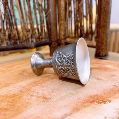 冠爵-足银仿古酒具-双龙戏珠酒杯