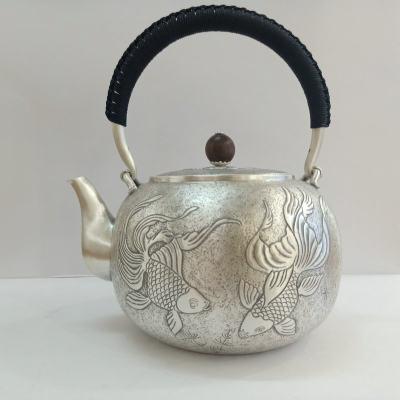 足银仿古茶具手工纯银提梁壶纯银烧水壶纯银煮茶壶 送礼佳品 金鱼