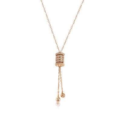 幸福牵挂18k金玫瑰色钻石套链