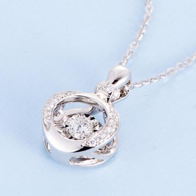 幸福浪漫 AU750白金钻石套链 潮流 时尚 创意 香水瓶 灵动系列 镶钻吊坠项链款 女生节日礼品