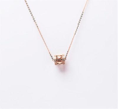 幸福女神AU750金玫瑰色钻石套链