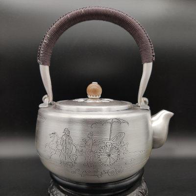 艺魂足银本色雷击木茶具-孔子出游