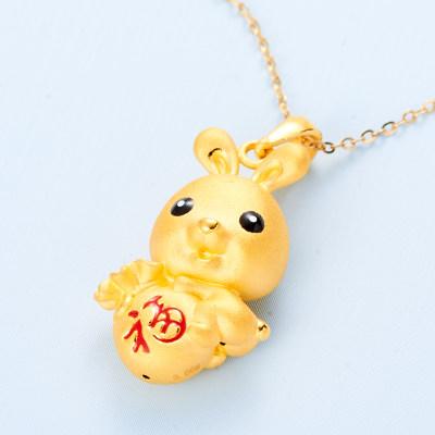 幸福生肖缘 3D硬金素金幸福兔吊坠(不含链)