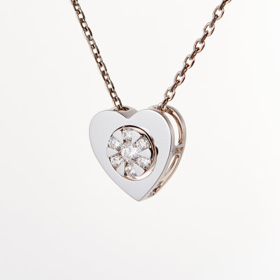 爱情之轮18k金白色钻石吊坠