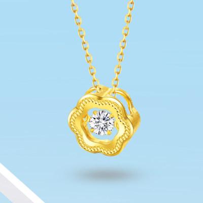 爱情几何-灵动系列3D24K硬金项链 日常佩戴 送朋友送爱人