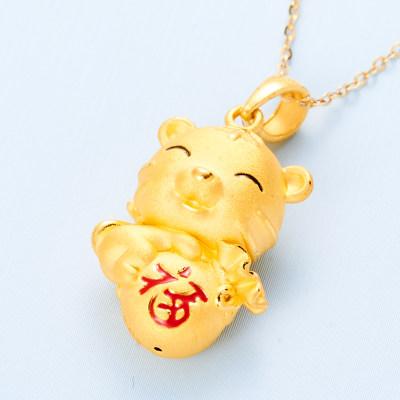 拥抱幸福- 3D硬金素金幸福虎吊坠简约节日礼物送少年 (不含链)