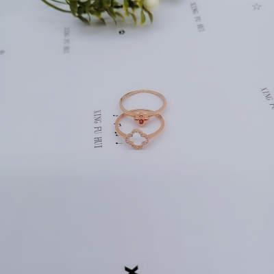 幸福缘分AU750玫瑰叠戴钻石戒指个性日韩一款双戴表白神器