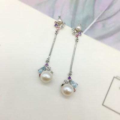 百缘百合 S925银 电白 珍珠 耳钉