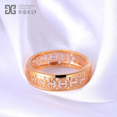 百年之约-AU750金玫瑰金素金戒指男款