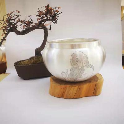 足银仿古本色茶具-老子茶洗